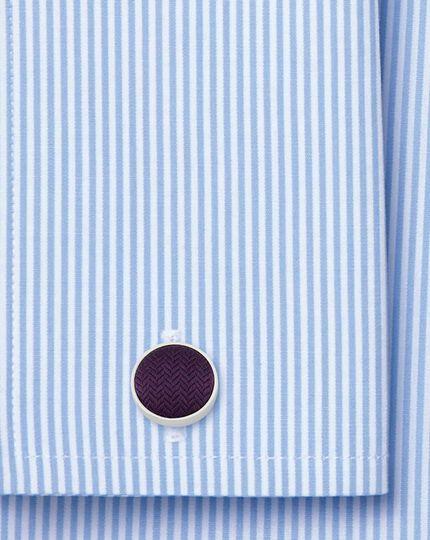 Purple herringbone silk cufflinks