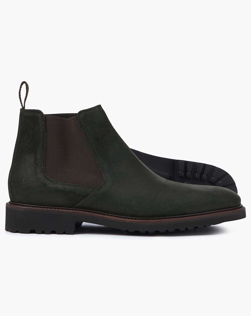 Green suede extra lightweight Chelsea boots