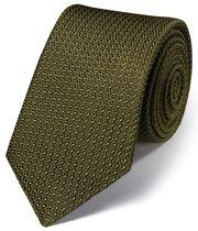 Cravate de luxe italienne kaki en grenadine de soie