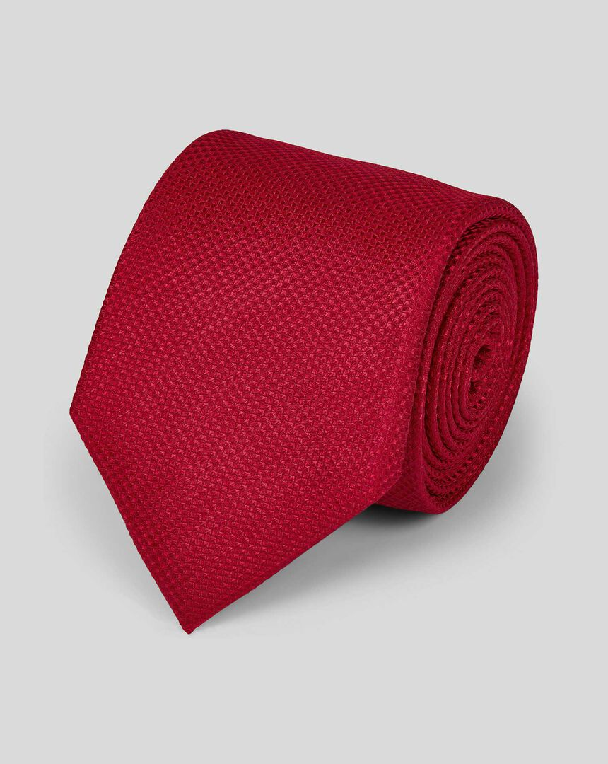 Stain Resistant Silk Textured Plain Classic Tie - Red