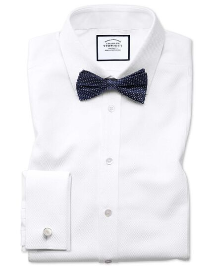 Navy silk pindot semi plain classic ready-tied bow tie
