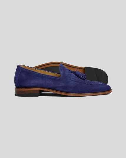 Flexible Sole Suede Tassel Loafers - Blue