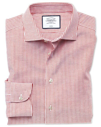 Slim fit business casual non-iron cotton linen red strip shirt