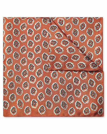 Rust geometric print pocket square