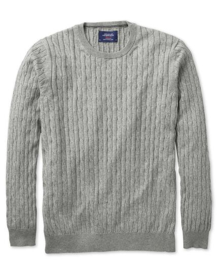 Light grey cotton cashmere cable crew neck jumper
