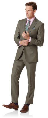 Olive slim fit twill business suit