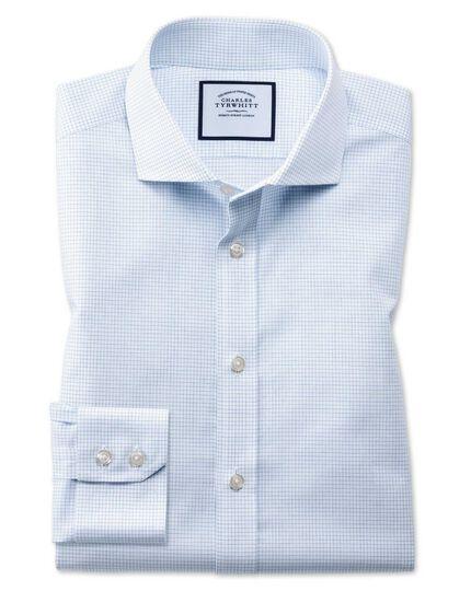 Chemise bleue en coton natural cool slim fit à col cutaway et micro-carreaux sans repassage