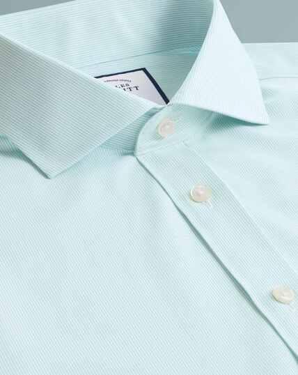 Non-Iron Tyrwhitt Cool Poplin Stripe Shirt - Aqua