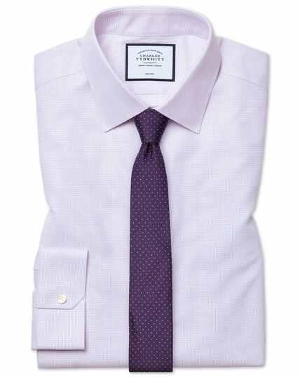 Super slim fit non-iron dash weave lilac shirt