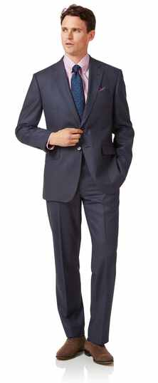 Airforce blue classic fit flannel business suit