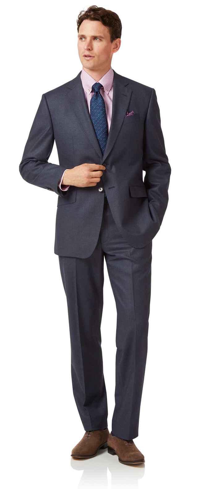 Business-Anzug Classic Fit Flanell Airforceblau