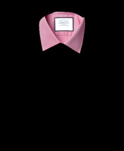 Hemd aus ägyptischer Baumwolle mit Kent Kragen und Fischgrätmuster - Magenta