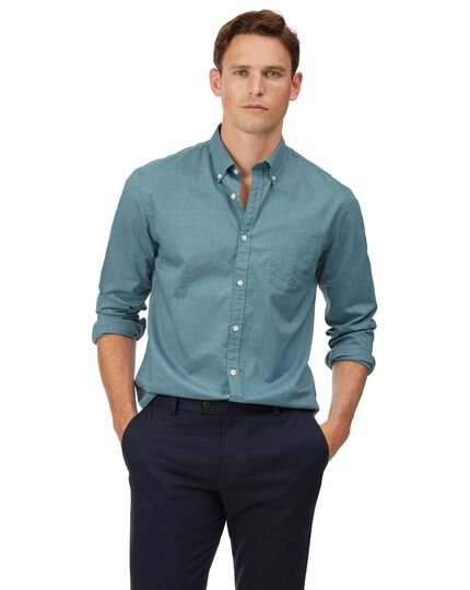 Chemise en popeline stretch soft washed verte extra slim fit