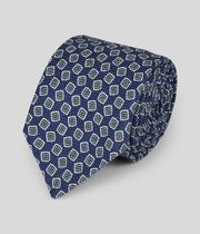 Cotton Silk Print Italian Craft Luxury Tie - Navy