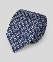 Cravate de luxe confection italienne coton et soie à imprimé - Bleu marine