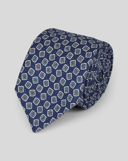 Cotton Silk Print Italian Craft Luxury Tie - Navy