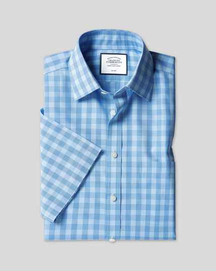 Classic Collar Non-Iron Tyrwhitt Cool Poplin Short Sleeve Check Shirt - Sky & Blue
