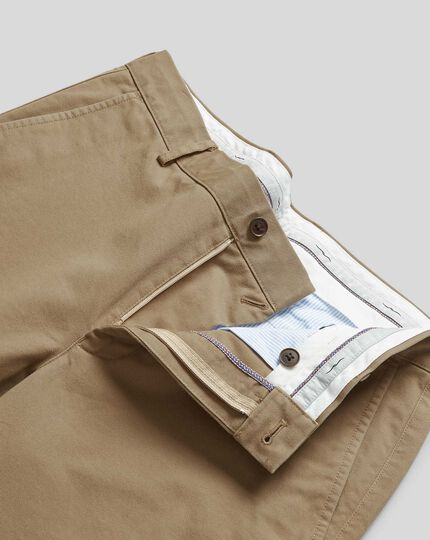 Flat Front Soft Washed Chinos  - Tan