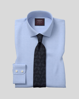 Slim fit semi-cutaway luxury twill light blue shirt