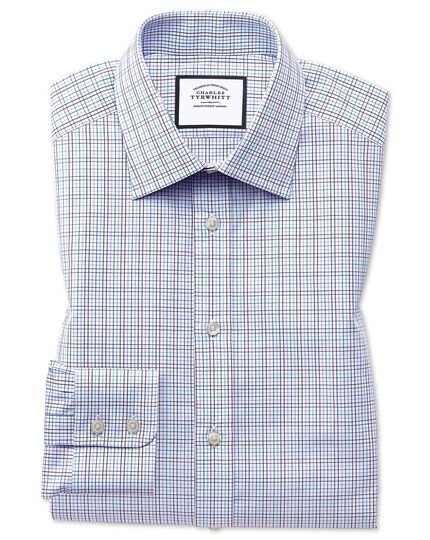 Slim fit purple multi check Egyptian cotton shirt