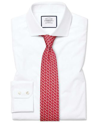 Slim fit white Egyptian cotton poplin spread collar shirt