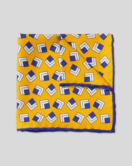Einstecktuch mit Retro-Quadrat-Print - Gold & Blau