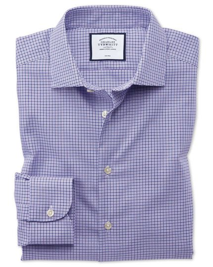 Business Casual Non-Iron Puppytooth Modern Texture Shirt - Lilac