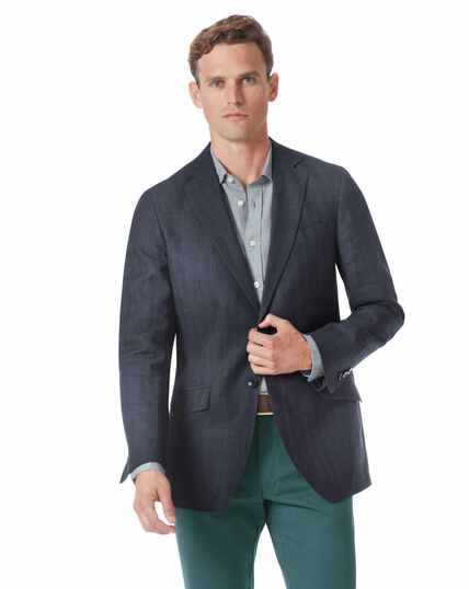 Slim fit navy cotton linen jacket