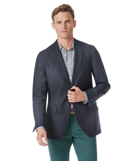 Slim fit navy cotton linen jacket