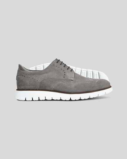 Suede Hybrid Trainers  - Grey