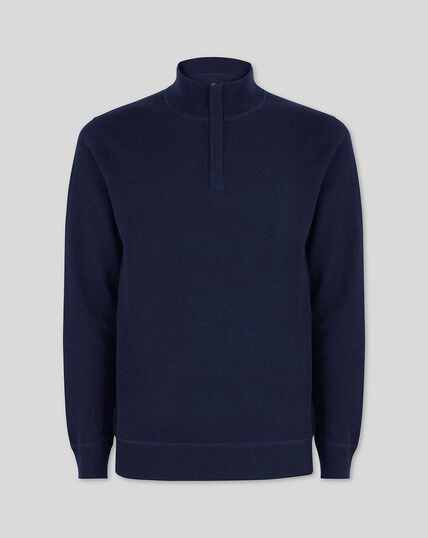 Merino Cashmere Zip Neck Jumper - Navy