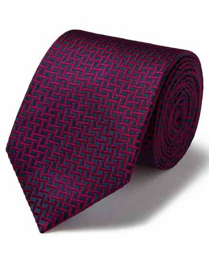 Marineblauw/roze vlekbestendige klassieke zijden stropdas met rasterdessin