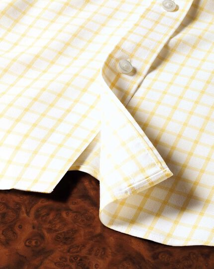 Classic fit non-iron twill grid check light yellow shirt