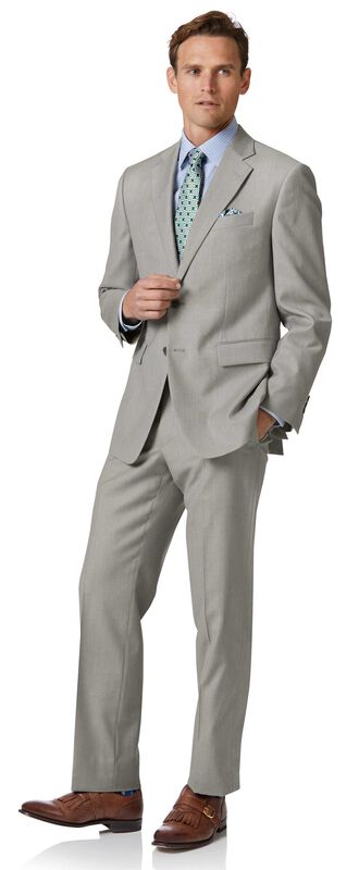 Light grey classic fit twill business suit