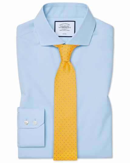 Slim fit non-iron spread collar sky blue Tyrwhitt Cool shirt