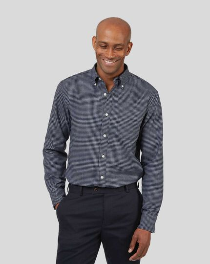 Button-Down Collar Non-Iron Twill Gingham Shirt - Blue & Navy