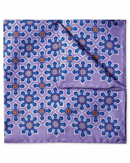 Lilac geometric floral print pocket square