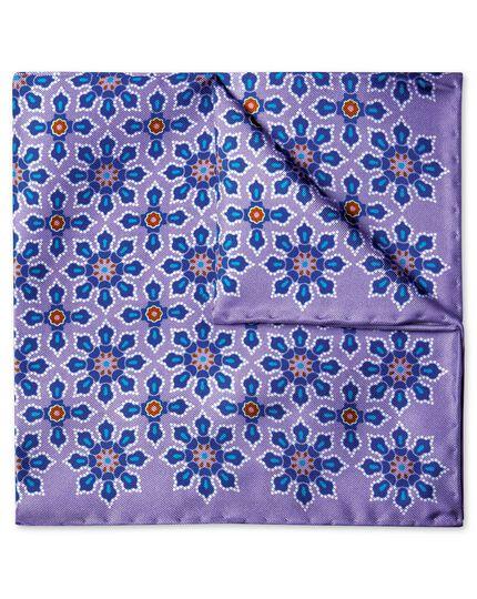 Lilac geometric floral print pocket square