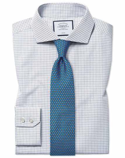Slim fit non-iron 4-way stretch navy shirt
