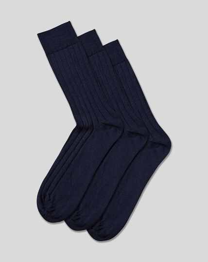 Wool Rich 3 Pack Socks - Navy