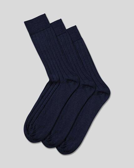 3er-Pack Socken mit hohem Wollanteil - Marineblau