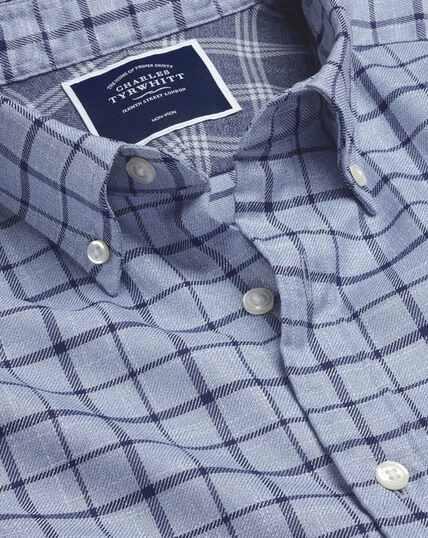 Bügelfreies Twill-Hemd mit Button-down-Kragen und Karos - Himmelblau & Marineblau