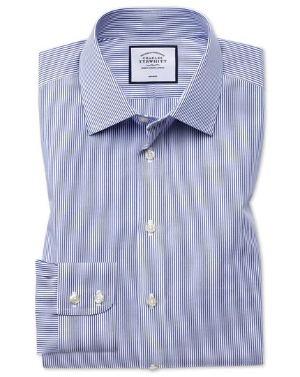 Extra slim fit non-iron Bengal stripe navy shirt