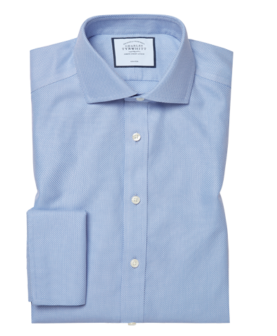 Classic fit non-iron Buckingham weave blue shirt