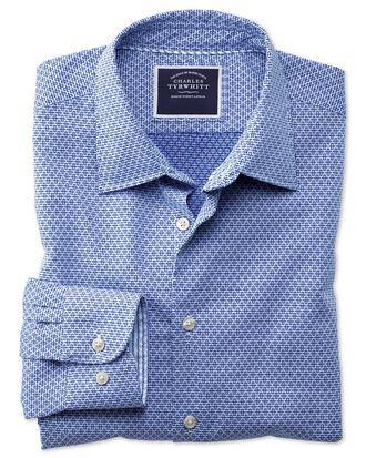 Slim Fit Hemd aus Strukturgewebe mit Gingham-Karos in Königsblau