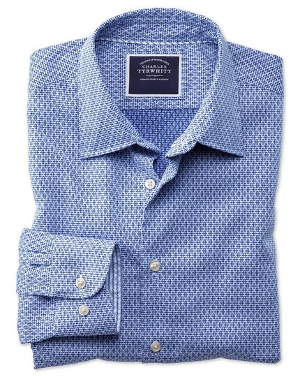 Slim fit washed royal blue gingham textured shirt