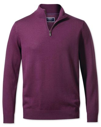 Dark purple zip neck merino jumper