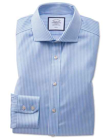 Slim fit non-iron cutaway collar sky blue twill stripe shirt