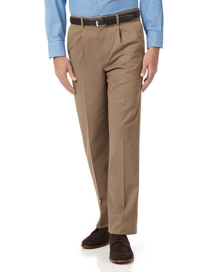 Tan classic fit single pleat non-iron chinos