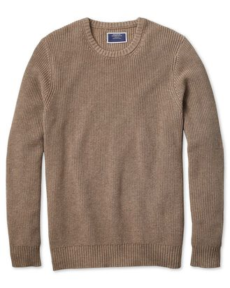 Stone crew neck pima cotton yak rib sweater